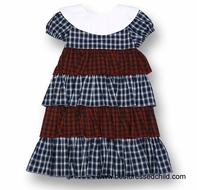 Jack & Teddy by Malley Girls Mixed Plaid Tiered Ruffle Dress with White Platter Collar
