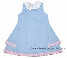 Jack & Teddy Girls Light Blue Pique Sleeveless Dress with White Collar and Pink Ruffle Trim