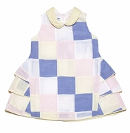 Jack & Teddy Girls Pink / Blue / Yellow Easter Patchwork Ruffle Dress with Collar