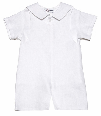 Jack & Teddy Infant / Toddler Boys Dressy White Linen Shortall with Sailor Style Shirt