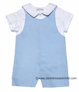 Jack & Teddy Infant / Toddler Boys Light Blue Pique Shortall with Shirt