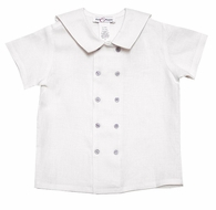 Jack & Teddy Toddler Boys White Double Breasted Sailor Shirt - Gray Buttons