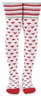 Jefferies Socks Girls White Tights with Stripes & Red Valentines Hearts