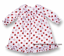 Juju & Jack by Funtasia Girls Christmas Red Dots on White Gown