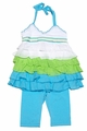 Kate Mac Girls Aqua Blue Wave Dancer Halter Tunic / Capri Set