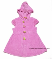 Kate mac Girls Hot Pink Terry Summer Petals / Rosa del Rio Beach Cover Ups with Hood and Cap Sleeves