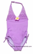 Kate mac Girls Lavender Enchanted Orchid One Piece Halter Swimsuits