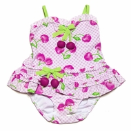 Kate mac Infant / Toddler Girls Pink / Green Cherry Picked Long Top with Panty Swimsuit