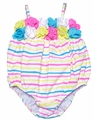 Kate Mack Baby Girls Blue / Pink / Yellow Garden Stripes Bubble Swimsuit