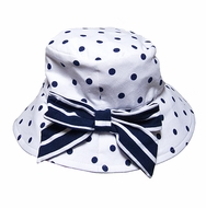 Kate Mack Baby Girls Monte Carlo White / Navy Blue Dots Hat with Bow