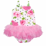 Kate Mack Baby / Toddler Girls Pink Floral La Bella Rosa One Piece Swimsuit with Tulle Tutu