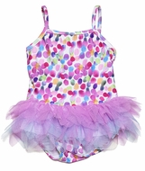 Kate Mack Baby / Toddler Girls Pink / Purple Dots Up Up & Away Tulle Skirted Two Piece Swimsuit