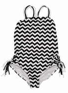 Kate Mack Girls Black / White Chevron One Piece Swimsuit with Cool Back