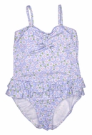 Kate Mack Girls Blue Darling Daisies Skirted One Piece Swimsuit