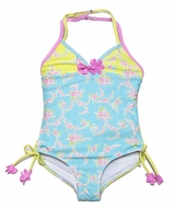 Kate Mack Girls Blue / Lime Green Floral Water Sprite Bathing Suit - One Piece