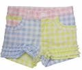 Kate Mack Girls Blue / Yellow / Pink Gingham Shorts