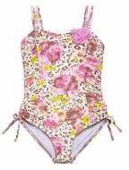 Kate Mack Girls Brown / Pink On the Wild Side Leopard Print Tank Swimsuit