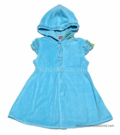 Kate Mack Girls Butterfly Ballet / All Aflutter Cover Up - Terry Cloth - Hooded - Aqua BLUE