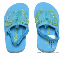 Kate Mack Girls Butterfly Ballet / All Aflutter Pool / Beach Shoes with Strap - Aqua BLUE