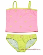 Kate Mack Girls Coral / Lime Green Embroidered Palm Beach Tankini Swimsuit