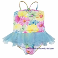 Kate Mack Girls Dipped in Daisies One Piece Swimsuit - Skirted Blue Tulle