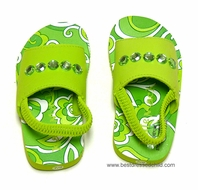 Kate Mack Girls Green Key Lime Beach / Pool Shoes with Strap and Jewels