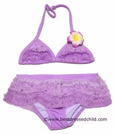 Kate Mack Girls Lavender Enchanted Orchid Skirted Two Piece Bathing Suits