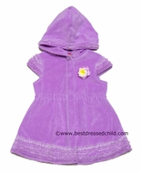 Kate Mack Girls Lavender Terry Hooded Enchanted Orchid Cap Sleeve Cover Ups
