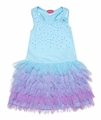 Kate Mack Girls Love Birds Blue Dress with Purple Tulle Skirting & Bow on Back