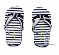 Kate Mack Girls Navy Blue / White Striped French Riviera Flip Flops with Bow