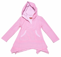 Kate Mack Girls Neon Pink Striped Candy Carnival Hooded Cover Up