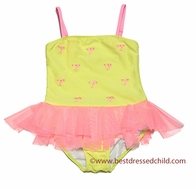 Kate Mack Girls Palm Beach Lime Green / Coral Embroidered Skirted One Piece Swimsuit