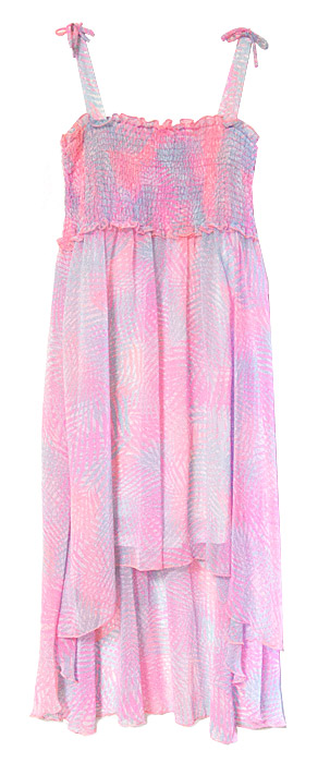Kate Mack Girls Pink Aqua Paradise Palms Smocked Chiffon