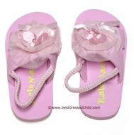 Kate Mack Girls Pink Dipped in Ruffles / Poolside Petals Tulle Trim Sandals with Strap