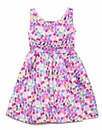 Kate Mack Girls Pink / Purple Colorful Jelly Beans Dots Scuba Dress