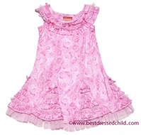 Kate Mack Girls Pink Roses Paradise Godet Dress with Ruffles and Bows