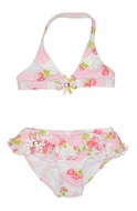 Kate Mack Girls Pink Strawberry Shortcake Skirted Bikini Swimsuit