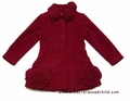 Kate Mack Girls Polar Fleece Coat with Flower Trim - Red