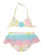 Kate Mack Girls Rainbow Connection Pink Pastels Two Piece Swimsuit with Tulle Skirt