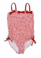 Kate Mack Girls Regatta Roses Red One Piece Swimsuit - Cute Bows Down the Back