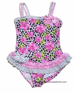 Kate Mack Girls Rosa del Rio Leopard / Pink Roses Ruffled One Piece Bathing Suit