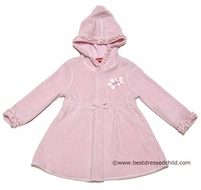 Kate mack Girls Terry Cloth Hooded Swim Cover Up - Long Sleeves - Pink