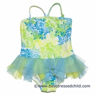 Kate Mack Girls Turquoise / Lime Green Tropical Toile Skirted One Piece Swimsuit