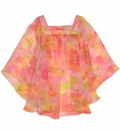 Kate Mack Girls Water Lilies Pink Pastels Sheer Cover Up Tunic