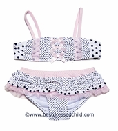 Kate Mack Girls White / Black / Pink Jennie Annie Dots Skirted Two Piece Bathing Suit