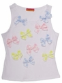 Kate Mack Girls White Sleeveless Top with Pastel Bows