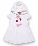Kate mack Girls White Terry Hooded Cover Up with Ruffle & Pink Cherries