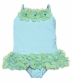 Kate Mack Infant / Toddler Girls Aqua Cirque de Soleil Swimsuit - Long Top with Panty