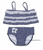 Kate Mack Infant / Toddler Girls Navy Blue Checks / Dots Picnic Sail Two Piece Swimsuits