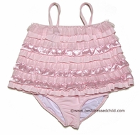 Kate Mack Infant / Toddler Girls Pink Dipped in Ruffles Two Piece Bathing Suit - Panty with Long Top